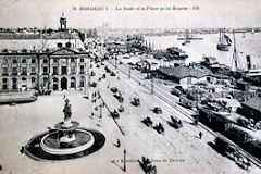 Ancienne carte Postale placede la Bourse à Bordeaux
